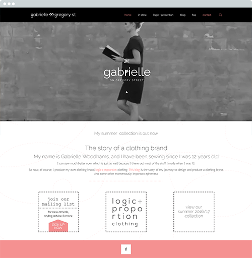 Gabrielle Woodhams - blog and online store design