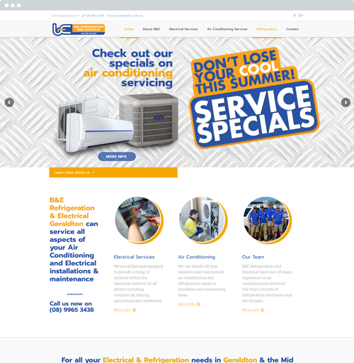 B&E Electrical and Air Conditioning Geraldton - Website Design