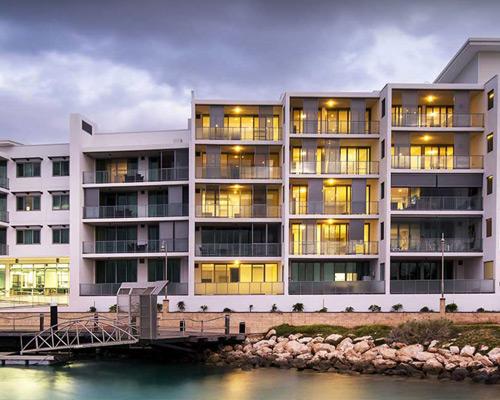 building at the marina