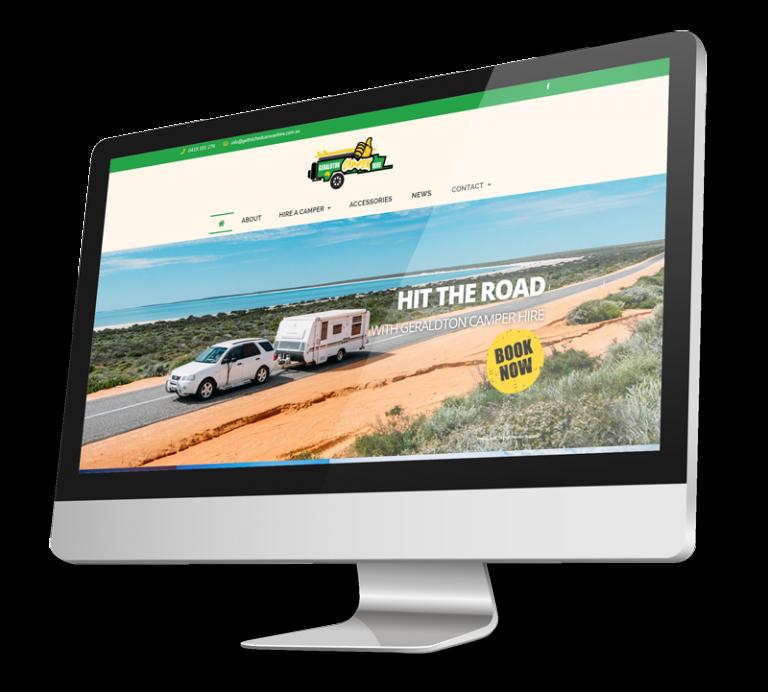 Geraldton Camper Hire website on a computer screen