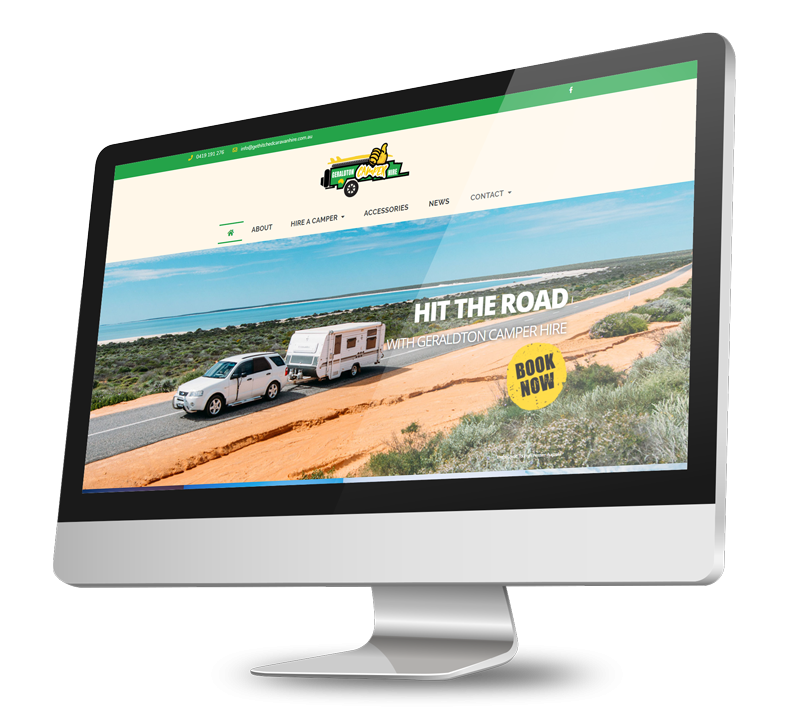 Geraldton Camper Hire website on a computer screen