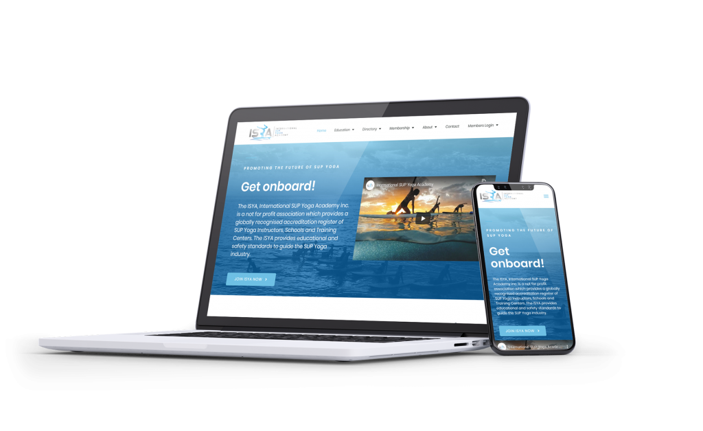 Website design displayed on a laptop and mobile display