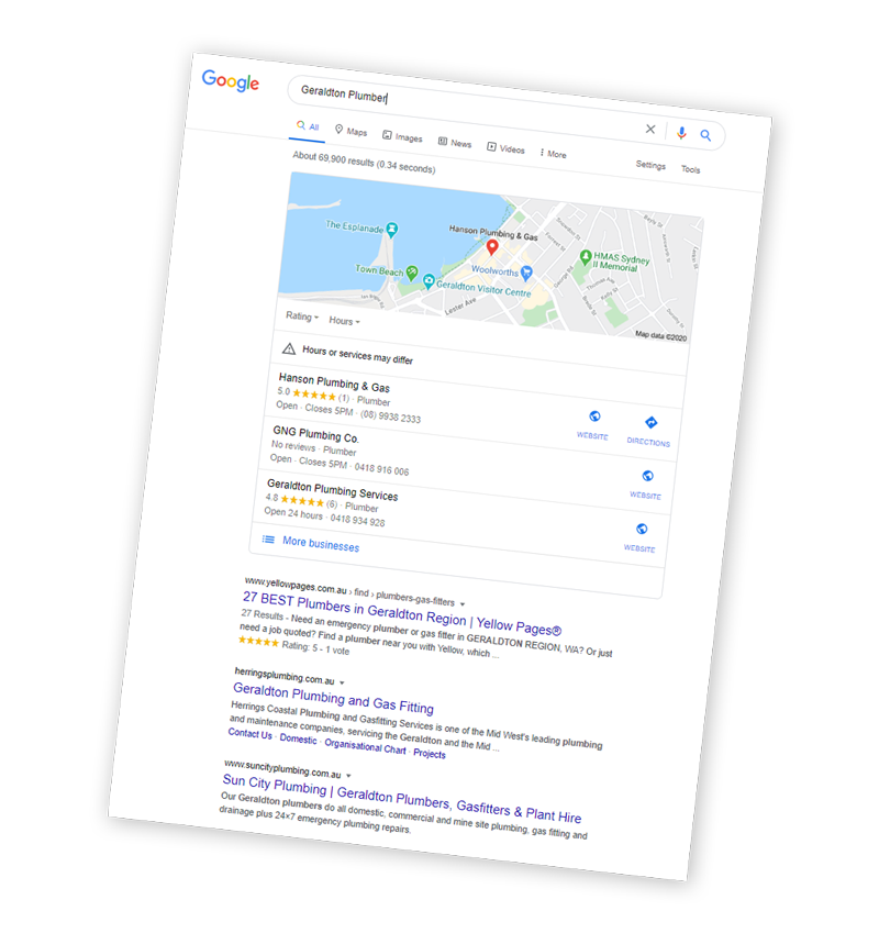 SEO Search Results page
